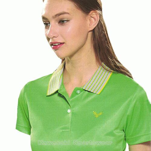 【日本 Kawasaki】女版運動休閒吸濕排汗短POLO衫-螢綠#KW2239A1(排汗衫) 1