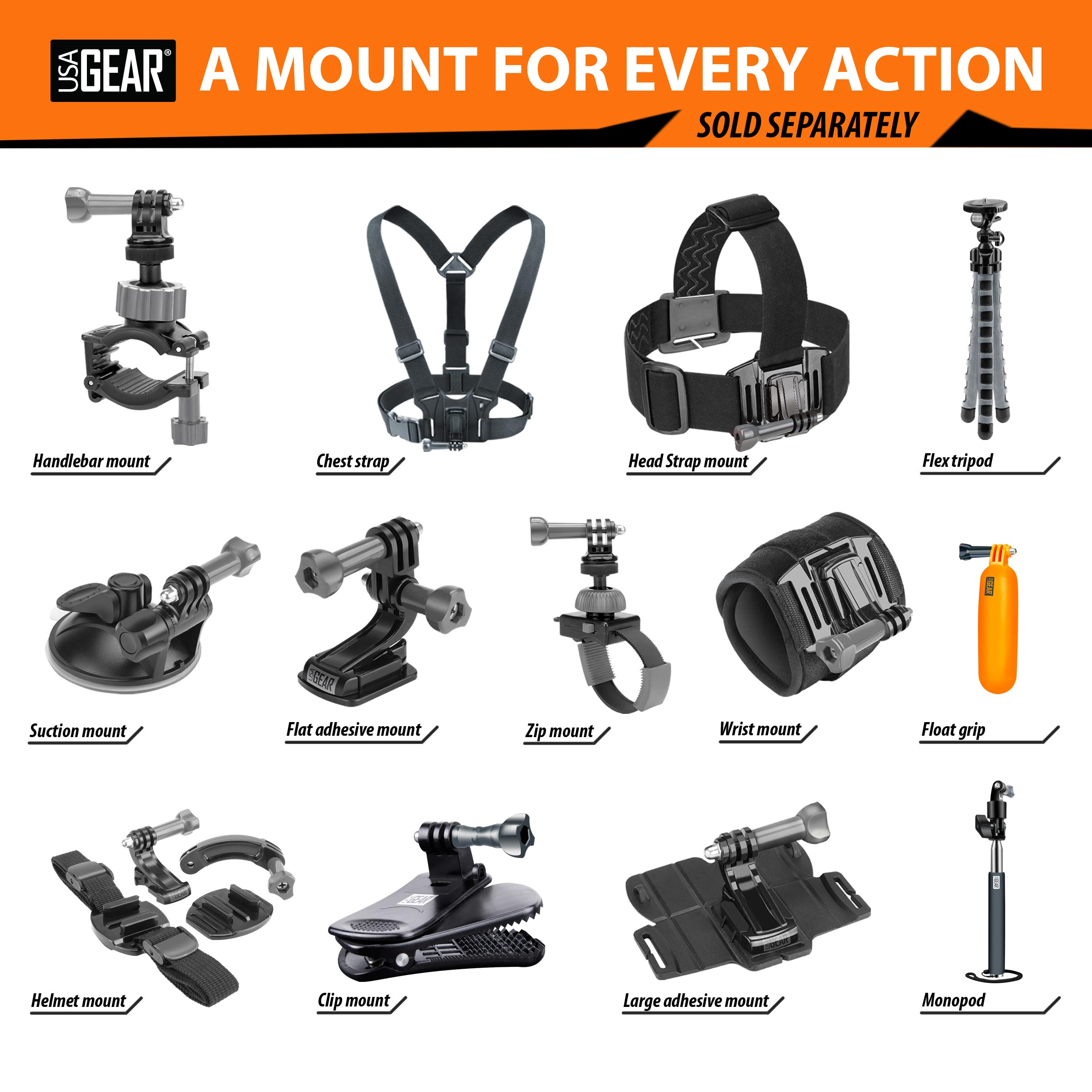 Tough Camera Chest Strap Mount with J Hook and Tripod Adapter by USA Gear - Works With Canon PowerShot D30 , Nikon Coolpix AW130 , Olympus TG-4 & More 8
