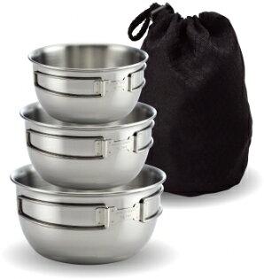 日野戶外:日野戶外~文樑ST-2020-2不銹鋼碗三件式附收納袋摺疊碗不鏽鋼碗餐具台灣製