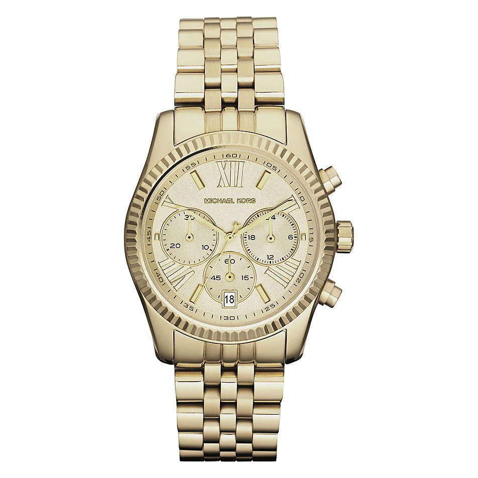 美國Outlet正品代購 MichaelKors MK  男女中性金色鋼帶錶 手錶 MK5556 1