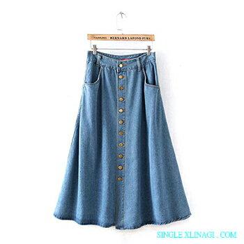 排釦雙口袋百搭牛仔裙