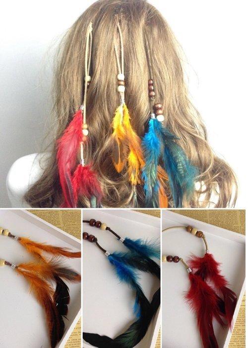 ★草魚妹★H342波西米亞印地安公主民族風手工製作羽毛串珠造型編織流蘇髮夾髮飾,售價120元