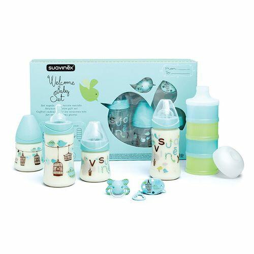 西班牙 Suavinex 寶寶禮盒-藍色(奶瓶、奶粉盒、安撫奶嘴、掛鍊)★愛兒麗婦幼用品★ 0