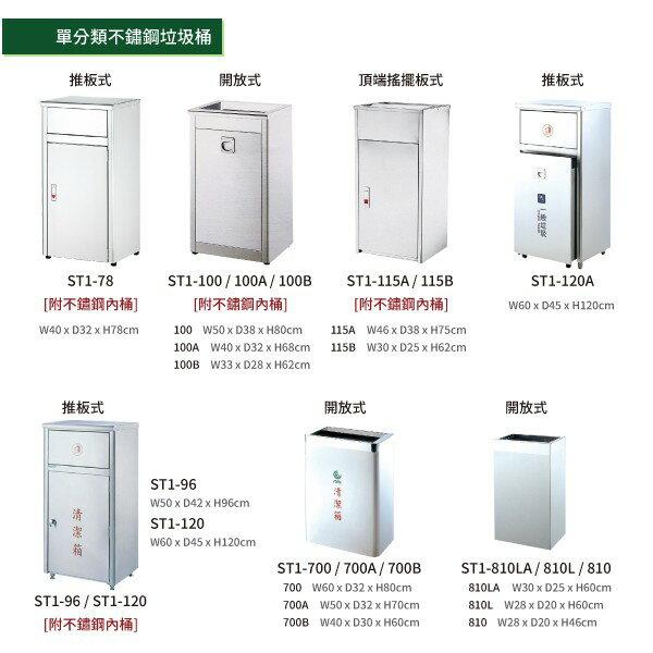 開放式不銹鋼清潔箱(小)ST1-810 垃圾桶 單分類 回收桶 清潔箱 太灣製造