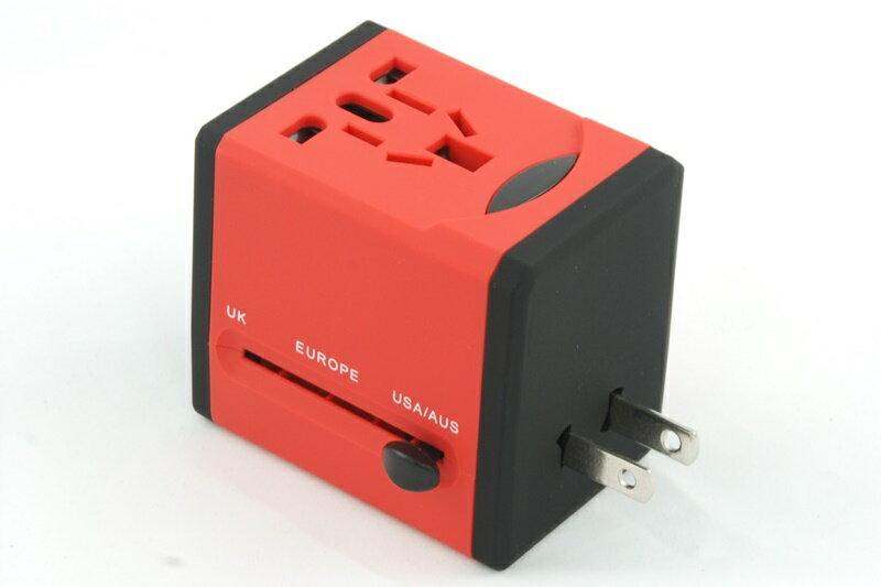 【凱樂絲】USB轉換插座 旅行好幫手 - 方形紅色-英美澳歐四大標準插腳 2