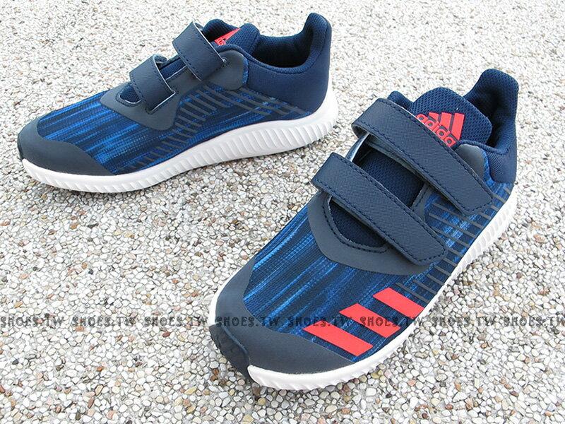 《下殺6折》Shoestw【BA7890】ADIDAS FORTARUN CF 童鞋 運動鞋 深藍紅 速度感 黏帶 中童 大童