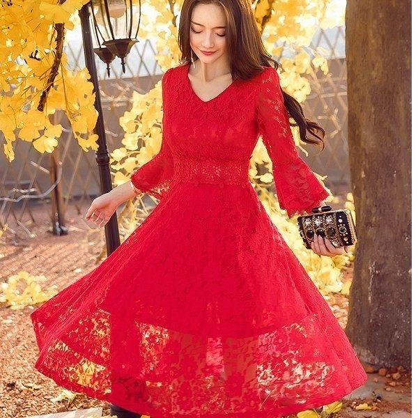 灰姑娘[18025-QF]性感V領滿版花朵蕾絲宮廷風七分袖大裙襬洋裝