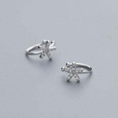 【米蘭秀】【奇珍館】:925純銀耳環鋯石耳扣-精緻海星氣質夾式女飾品73ql20【獨家進口】【米蘭精品】