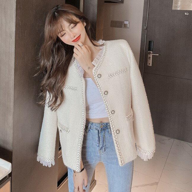 秋季新款韓版V領蕾絲花邊開衫外套百搭寬松顯瘦長袖上衣女裝