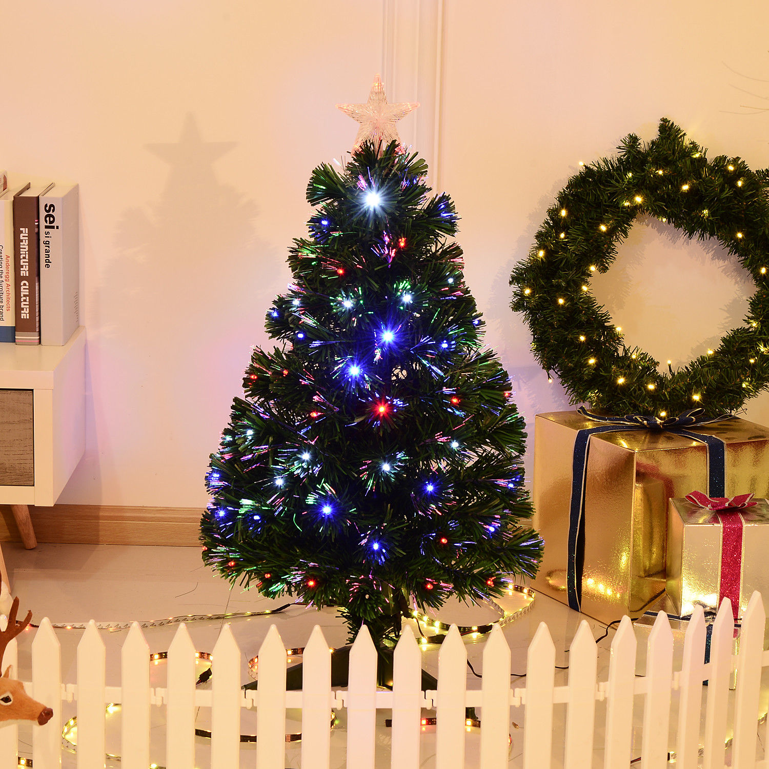 3' Artificial Fiber Optic / LED Light Up Christmas Tree w/ 8 Light Settings and Stand 1