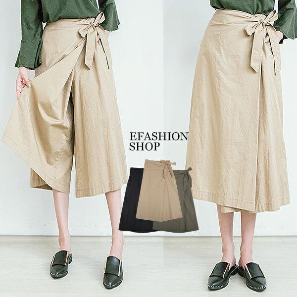 側綁帶斜一片褲裙-eFashion預【J15796801】