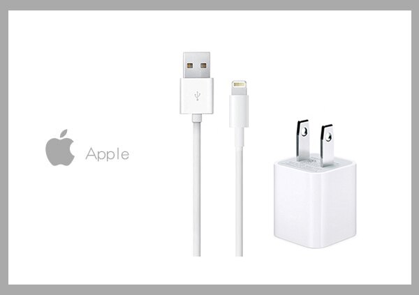 AppleiPhoneiPad原廠5WUSB旅行充電器+iPhone7Lightning對USB連接線組(1公尺-密封袋裝)