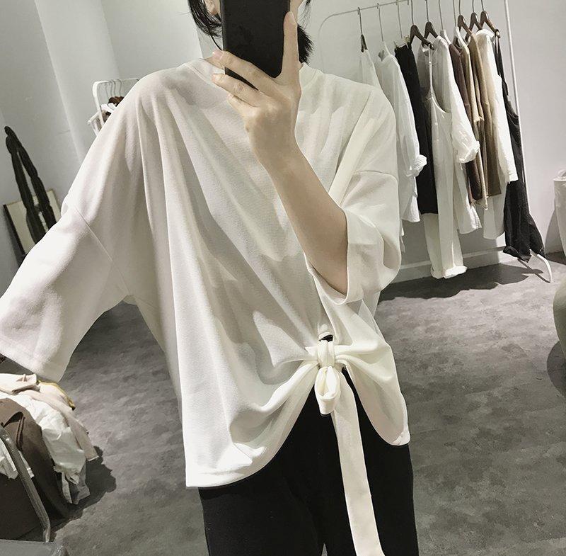 寬鬆大碼蝴蝶結減齡顯瘦五分袖韓版皺褶圓領上衣