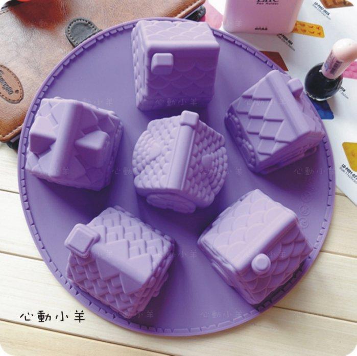 心動小羊^^可愛房子6孔矽膠模具 6連模矽膠皂模 手工皂模具