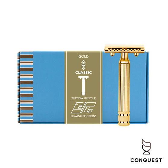 【CONQUEST】義大利FATIP42124手動傳統安全刮鬍刀鍍金18K金封閉式刀頭加贈五片替換刀片