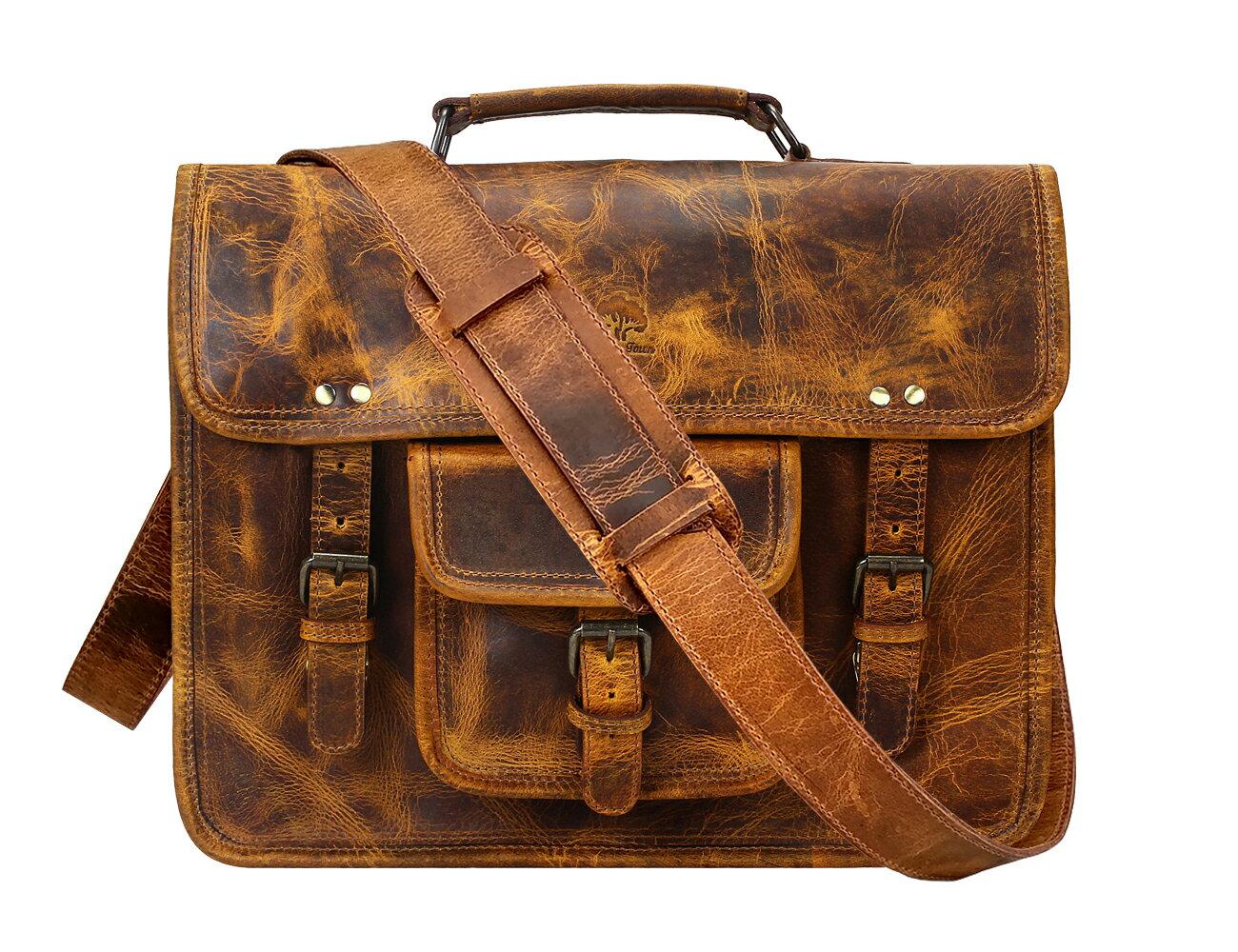 23e9d3fb6e83 15 Inch Leather Vintage Rustic Crossbody Messenger Satchel Bag Gift Men  Women ~ Business Work Briefcase