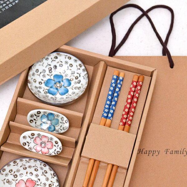 櫻花陶瓷餐具禮盒(2入組) 情侶筷 伴手禮 尾牙禮品