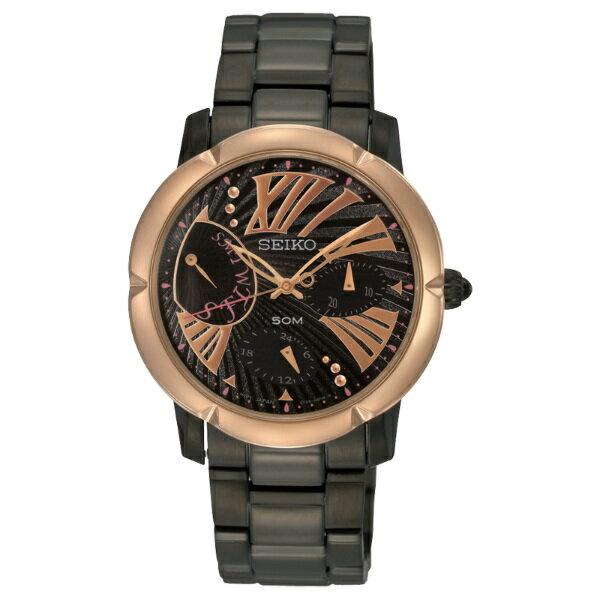 Seiko Spirit 5Y66-0BE0SD(SNT882P1)黑金多功能顯示腕錶/黑面34mm