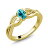 18K Yellow Gold Plated Silver Solitaire Ring Set with Paraiba Topaz from Swarovski 0