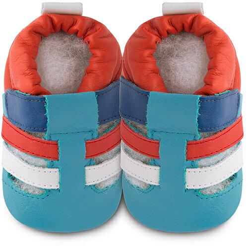 【HELLA 媽咪寶貝】英國 shooshoos 安全無毒真皮手工鞋/學步鞋/嬰兒鞋_藍橘涼鞋_102068 (公司貨)