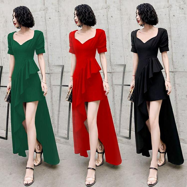 宴會禮服 黑色晚禮服裙子女2021新款氣質名媛宴會生日連身裙性感平時可穿夏 摩可美家