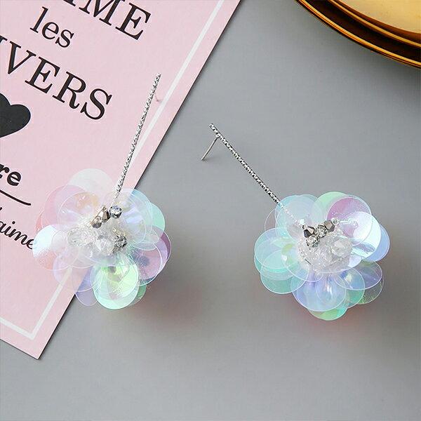 PS Mall 韓版925銀針立體亮片花朵鑲鑽貝殼花朵立體耳環【G089】 1