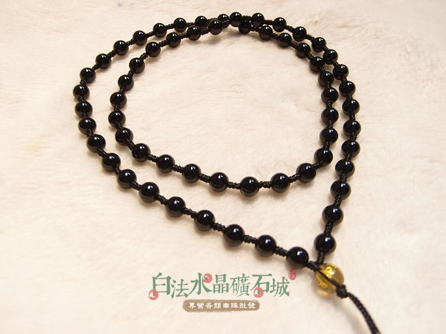 白法水晶礦石城 瑪瑙 老黑玉髓 黑瑪瑙 6mm 色澤 特級品 項鍊 飾材料