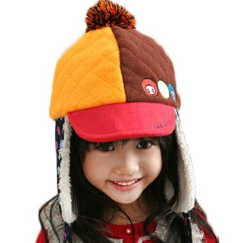 Kofair◆秋冬保暖時尚可愛娃娃毛球帶釦兒童毛絨鴨舌雷鋒帽-紅色