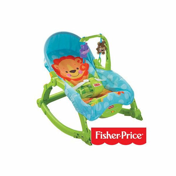 Fisher-Price 費雪可愛動物可攜式兩用安撫躺椅 搖椅【六甲媽咪】