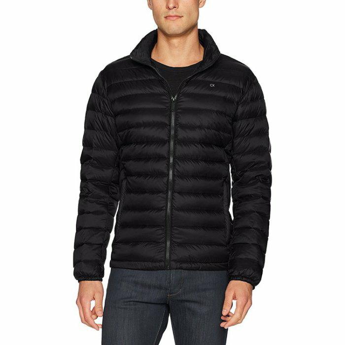 美國百分百【全新真品】Calvin Klein CK 男 輕量 保暖 羽絨 外套 夾克 立領 黑色 S,M號 AS41