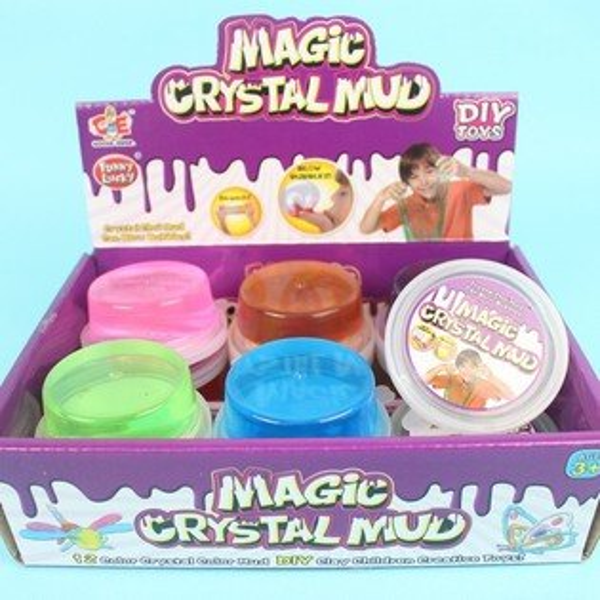 圓盒珠光水晶泥水晶土(不沾手.可吹泡泡)一個入{促15}童玩黏黏土睿882-62