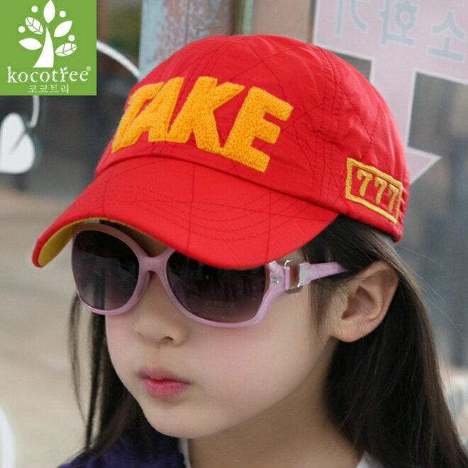 Kocotree◆時尚TAKE植絨字母活力透氣網頂兒童休閒鴨舌棒球帽網帽-紅(網頂帽款)色