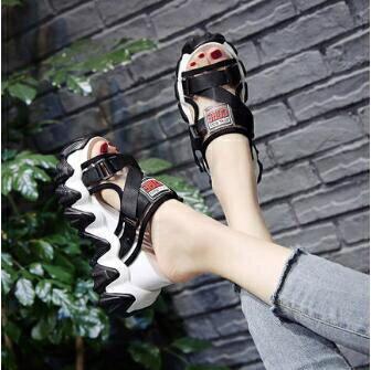 厚底拖鞋 網紅拖鞋女夏外穿2020新款無後跟懶人鞋厚底鬆糕坡跟內增高涼拖鞋 清涼一夏钜惠