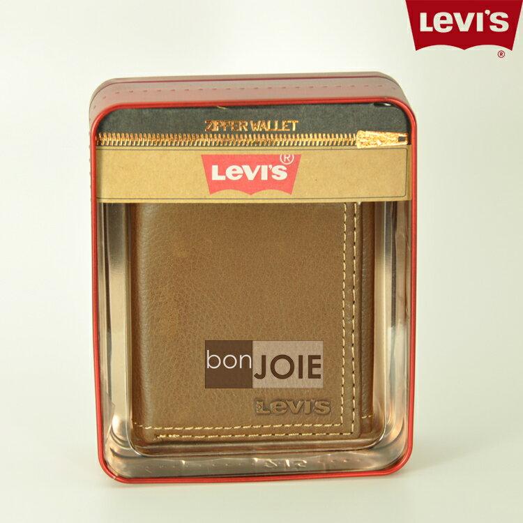 ::bonJOIE:: 美國進口 新款鐵盒裝 Levi's 三折直立式透明窗皮夾 (棕色) 含零錢袋 Levis 三折式 短夾 實物拍攝 皮夾