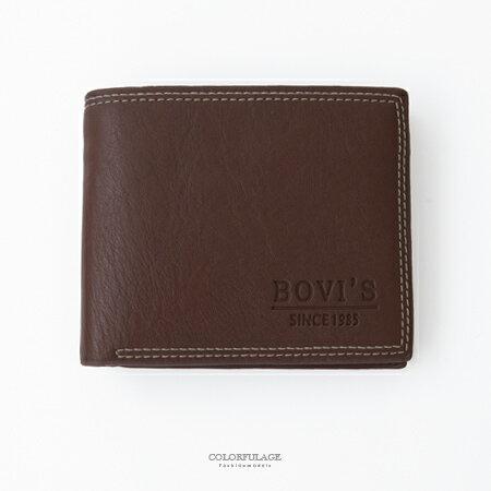 皮夾 品味咖啡色休閒風格對折短夾 多卡夾 款 貼心收納小 柒彩年代~NW447~ 皮革