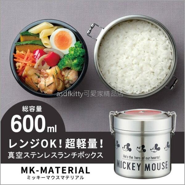 asdfkitty可愛家☆米奇真空不鏽鋼圓型雙層保溫保冷便當盒-600ML-日本正版商品