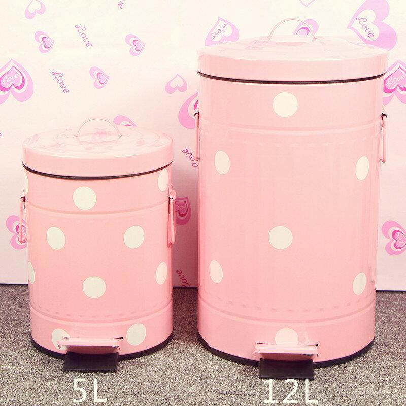 居家田園鄉村風 歐式粉色波點普普風踏式緩靜音垃圾桶5L