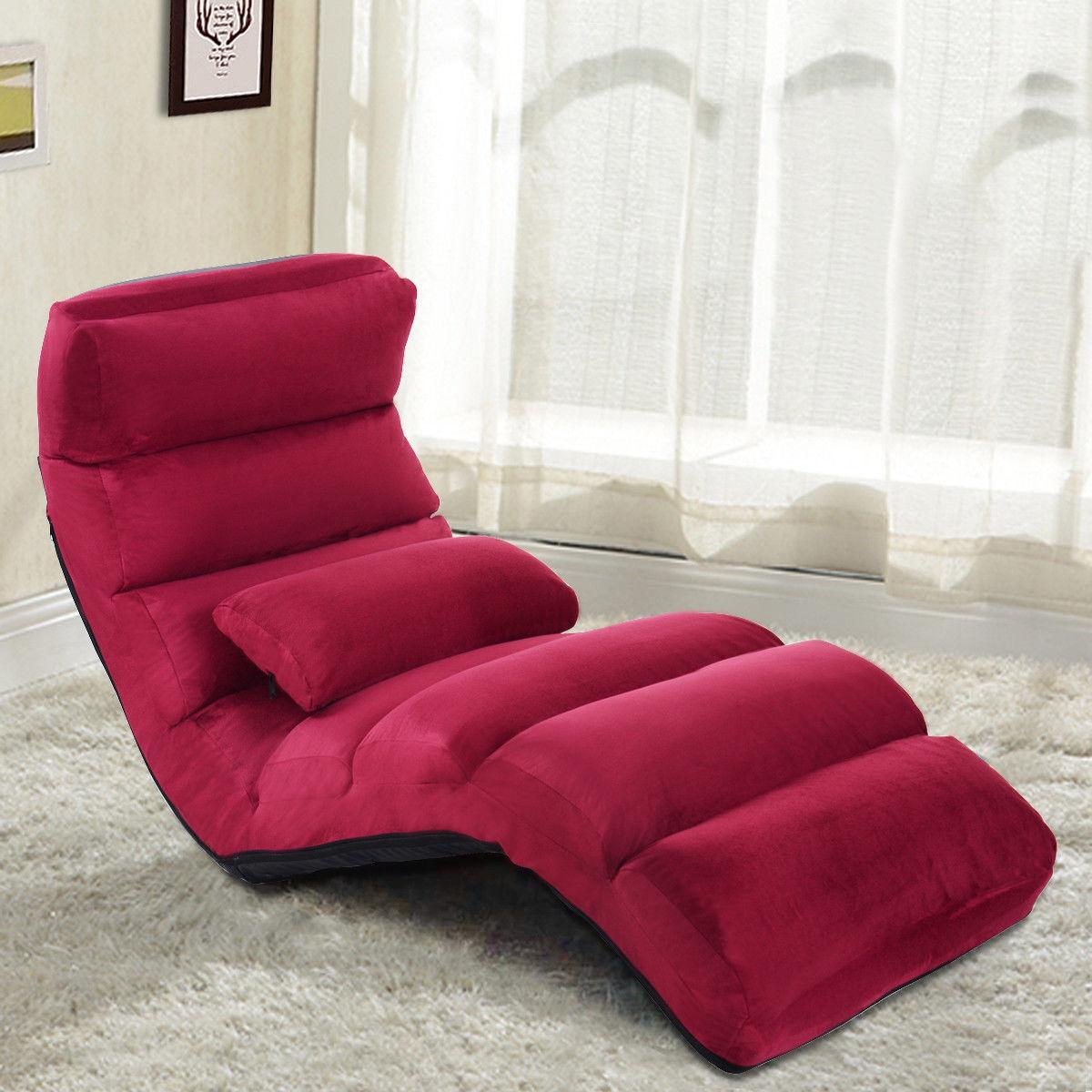 Costway: Costway Burgundy Folding Lazy Sofa Chair Stylish ...