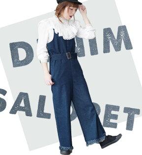 e-zakkaMIMIMEMETE女士寬版牛仔連身吊帶褲-日本必買代購日本樂天代購