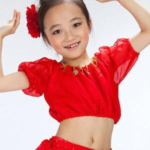 兒童燈籠短袖肚皮舞上衣^(表演服.演出服.舞蹈服.成果展.肚皮舞服.練習服.中東肚皮舞.