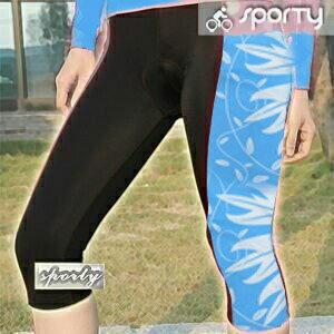 【sporty】藍色女性四針六分車褲.自行車.腳踏車.卡打車.單車.小折.騎行服P082-C0197
