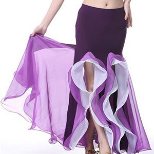 水晶棉雙開叉間色裙^(肚皮舞裙子.表演服飾.演出服飾.肚皮舞服飾.舞蹈服飾.成果展.肚皮舞