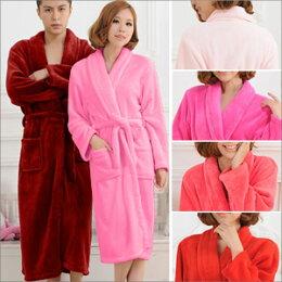 法蘭絨加厚!!素色男女情侶睡袍E361-03