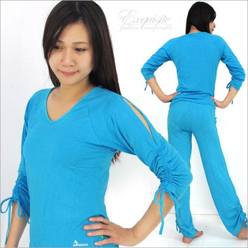 【Dmasun】 藍彩設計瑜珈韻律運動套裝(上衣+長褲).有氧