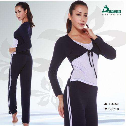【Dmasun】  時尚簡單瑜珈韻律運動套裝(長袖+長褲).有氧 - 限時優惠好康折扣