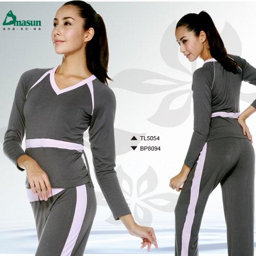 【Dmasun】  雙色休閒瑜珈韻律運動套裝(長袖+長褲).有氧 - 限時優惠好康折扣