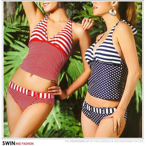 『泳裝出清』點線假腰帶二件式泳裝.運動C107-J9122 - 限時優惠好康折扣