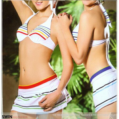 『泳裝出清』條紋款三件式泳裝.運動