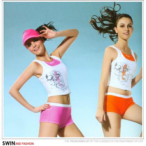 『泳裝出清』圖樣設計休閒兩件式泳裝.運動
