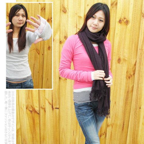 日系VIVI雜誌蕾絲露手指孔美人棉T.流行女裝.長袖T恤